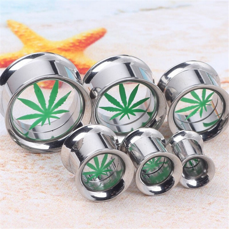 1 Piece Stainless Steel Leaves Ear Gauges