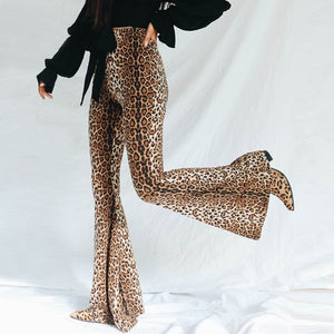 Leopard High Waist Fashion Bell Bottoms