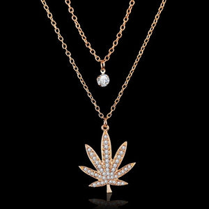 18K Gold plated Colored Cannabis Leaf Necklace