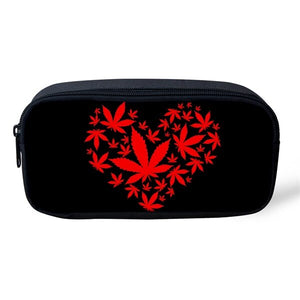 Red Heart Leaf Pencil/Cosmetic Case