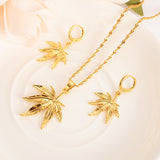 24k gold plated pendant Necklace Earring Set