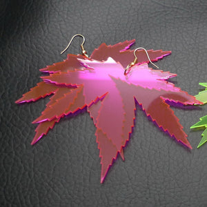 Neon Leaf Custom Leaf Earrings