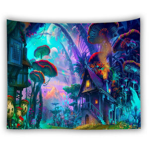 Extra Large Trippy Fantasy Land Tapestry