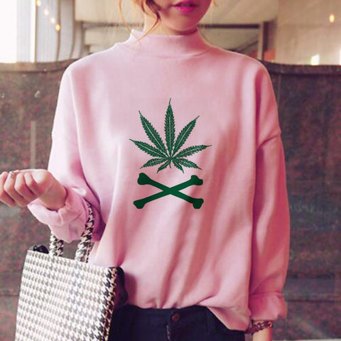 Leaf high collar Sweatshirt