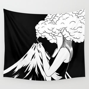 I Am the Volcano Tapestry, Sofa Cover or Video Backdrop
