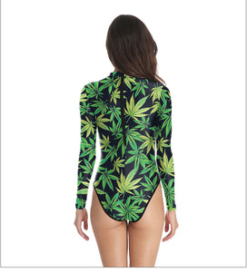 Kush Queen Long Sleeve Bodysuit/Swimsuit