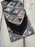 Pink and Grey Aztec Triangles
