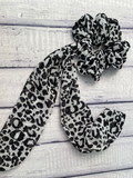 Snow Leopard Print Tailed Scrunchie