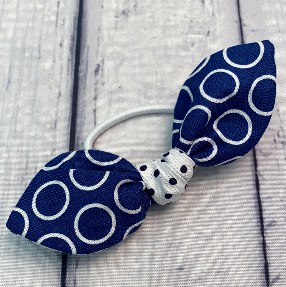 Navy Ring Geometric Itty Bitty Single Bow