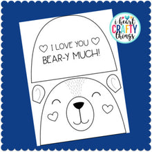 "Load image into Gallery viewer, I Love You ""Bear-y"" Much Valentine's Day Card or Mother's Day Card"