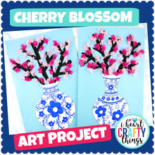 Load image into Gallery viewer, Cherry Blossom Art Project -Japanese art porcelain vase templates