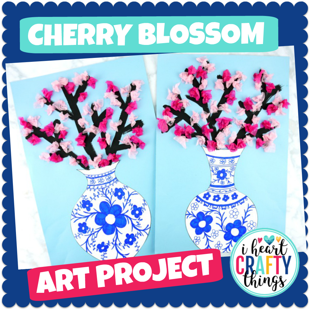 Cherry Blossom Art Project -Japanese art porcelain vase templates