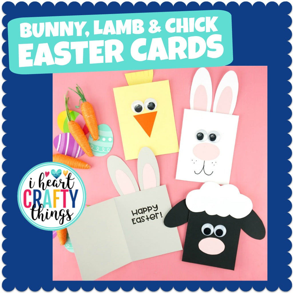 Simple Easter Cards for Kids | Bunny, Lamb and Chick Card
