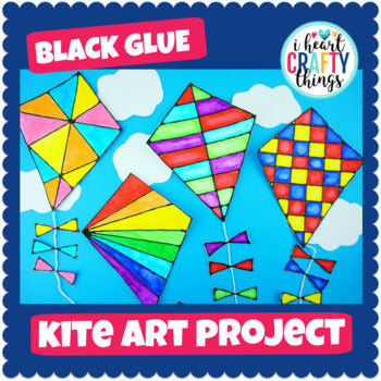 Black Glue and Watercolor Kite Art Project