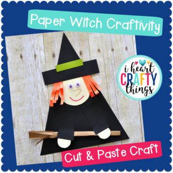 Paper Witch Halloween Craft -Room on the Broom Craft