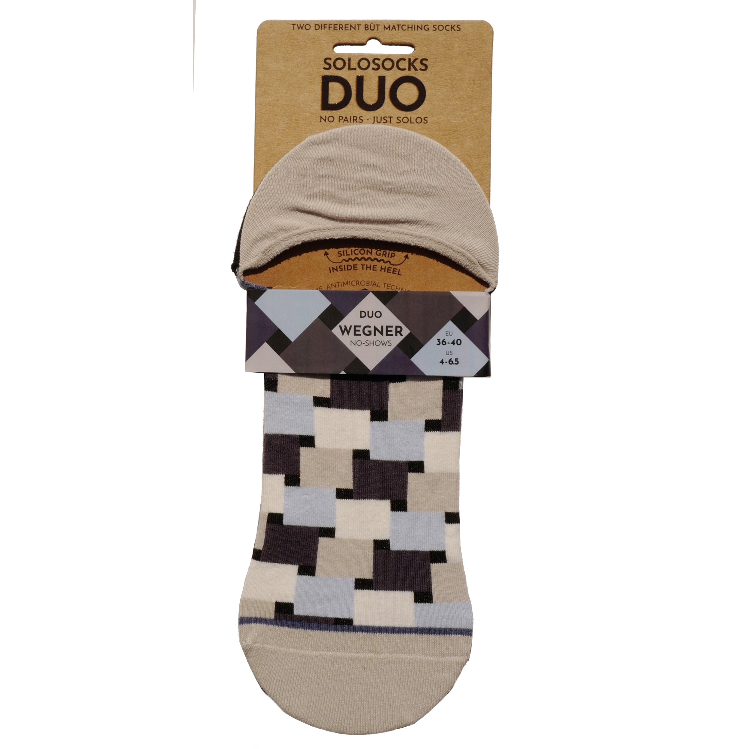 Wegner No-Shows Duo - Two different but matching happy, colorful organic cotton no-show ankle sneaker socks made by SOLOSOCKS™ of Denmark. Sustainable Danish design socks for men & women | High quality but cheap and durable fashion socks | Worldwide delivery | Free shipping above €40