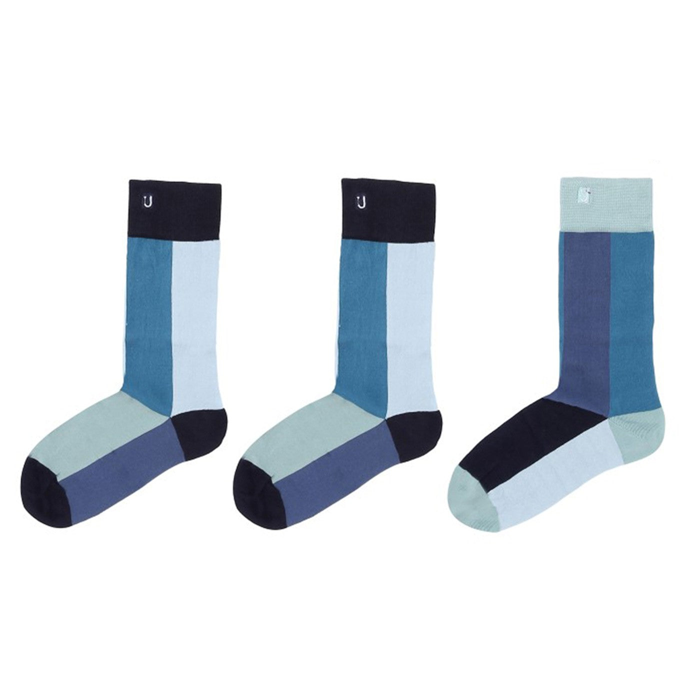Three different but matching happy, colorful organic cotton crew or dress socks made by SOLOSOCKS™ of Denmark. Sustainable Danish design socks for men, women | High quality but cheap and durable fashion dress socks | Worldwide delivery | Free shipping above €40 | Reduce textile waste by 41%
