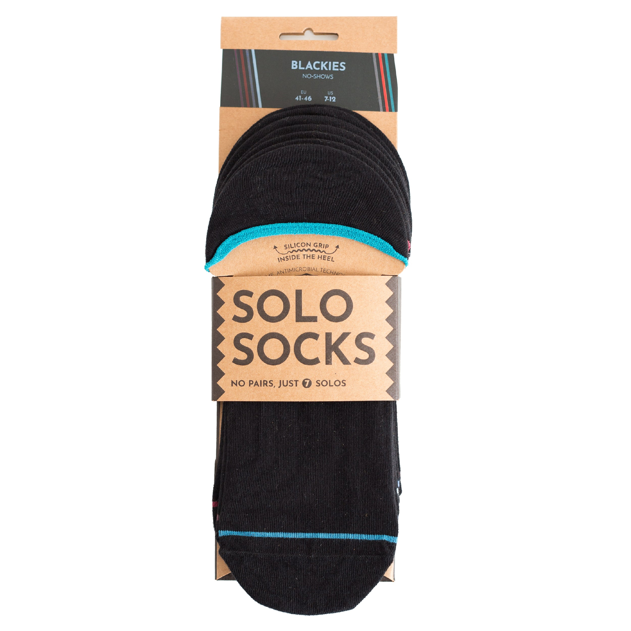 Blackies No-Shows - A pack of 7x1 organic cotton no-show ankle sneaker socks designed to mix & match. Made by SOLOSOCKS™ of Denmark. Sustainable black Danish design socks for men and women| High quality but cheap and durable fashion socks | Worldwide delivery | Free shipping above €40 | Reduce textile waste by 41%