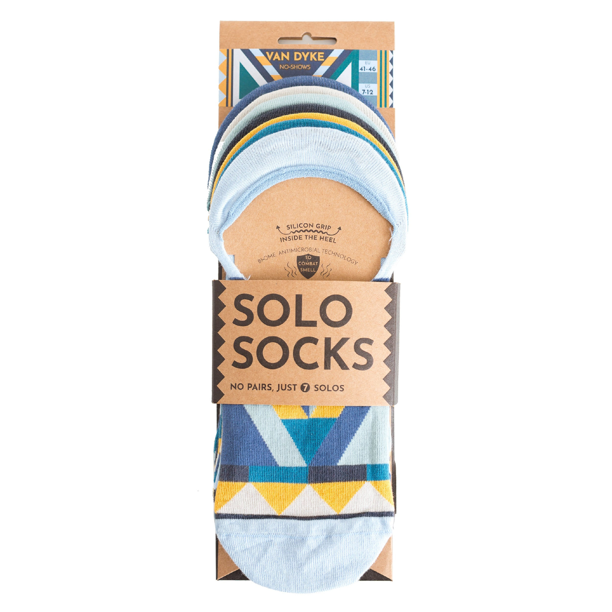 Van Dyke No-Shows - A pack of 7x1 organic cotton no-show ankle sneaker socks designed to mix & match. Made by SOLOSOCKS™ of Denmark. Sustainable colorful happy Danish design socks for men and women| High quality but cheap and durable fashion socks | Worldwide delivery | Free shipping above €40 | Reduce textile waste by 41%
