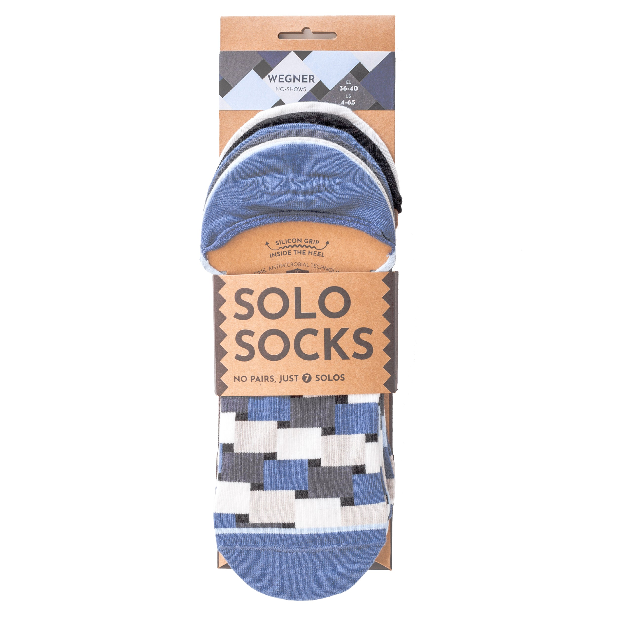 Wegner No-Shows - A pack of 7x1 organic cotton no-show ankle sneaker socks designed to mix & match. Made by SOLOSOCKS™ of Denmark. Sustainable colorful happy Danish design socks for men and women| High quality but cheap and durable fashion socks | Worldwide delivery | Free shipping above €40 | Reduce textile waste by 41%