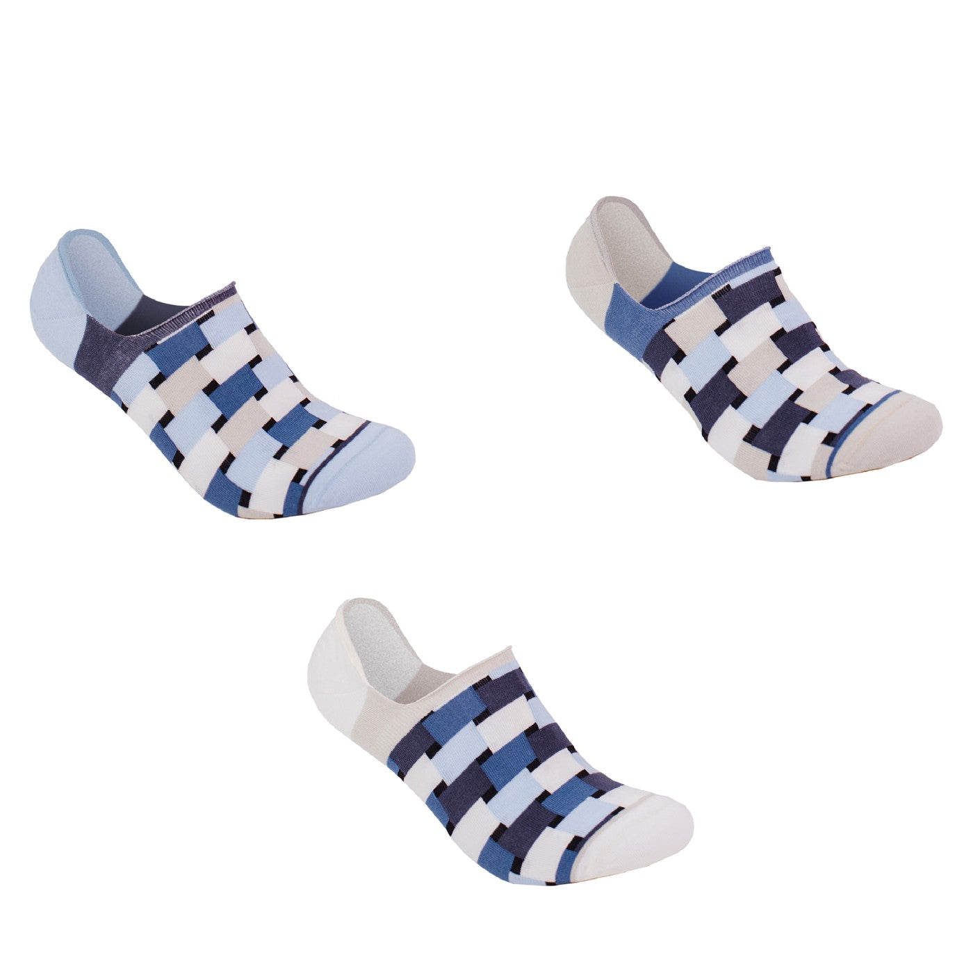 Three different but matching happy, colorful organic cotton no-show ankle sneaker socks made by SOLOSOCKS™ of Denmark. Sustainable Danish design socks for men & women | High quality but cheap and durable fashion socks | Worldwide delivery | Free shipping above €40