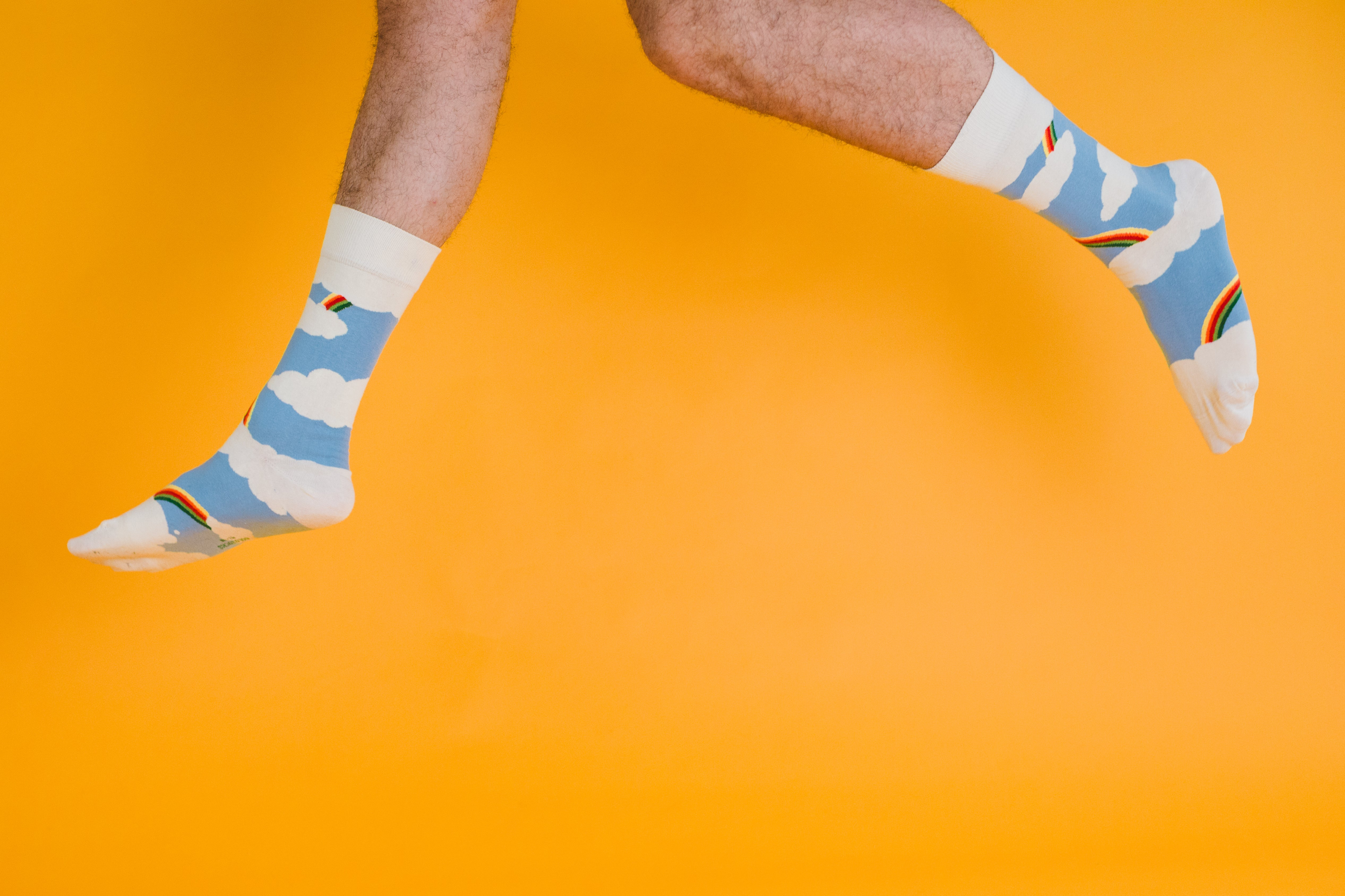 Rainbow, a regular pair of organic cotton crew dress socks made by SOLOSOCKS™ of Denmark. Sustainable Danish design socks for men & women | High quality but cheap and durable fashion socks | Worldwide delivery | Free shipping above €40 | Recyclable and environmentally friendly packaging