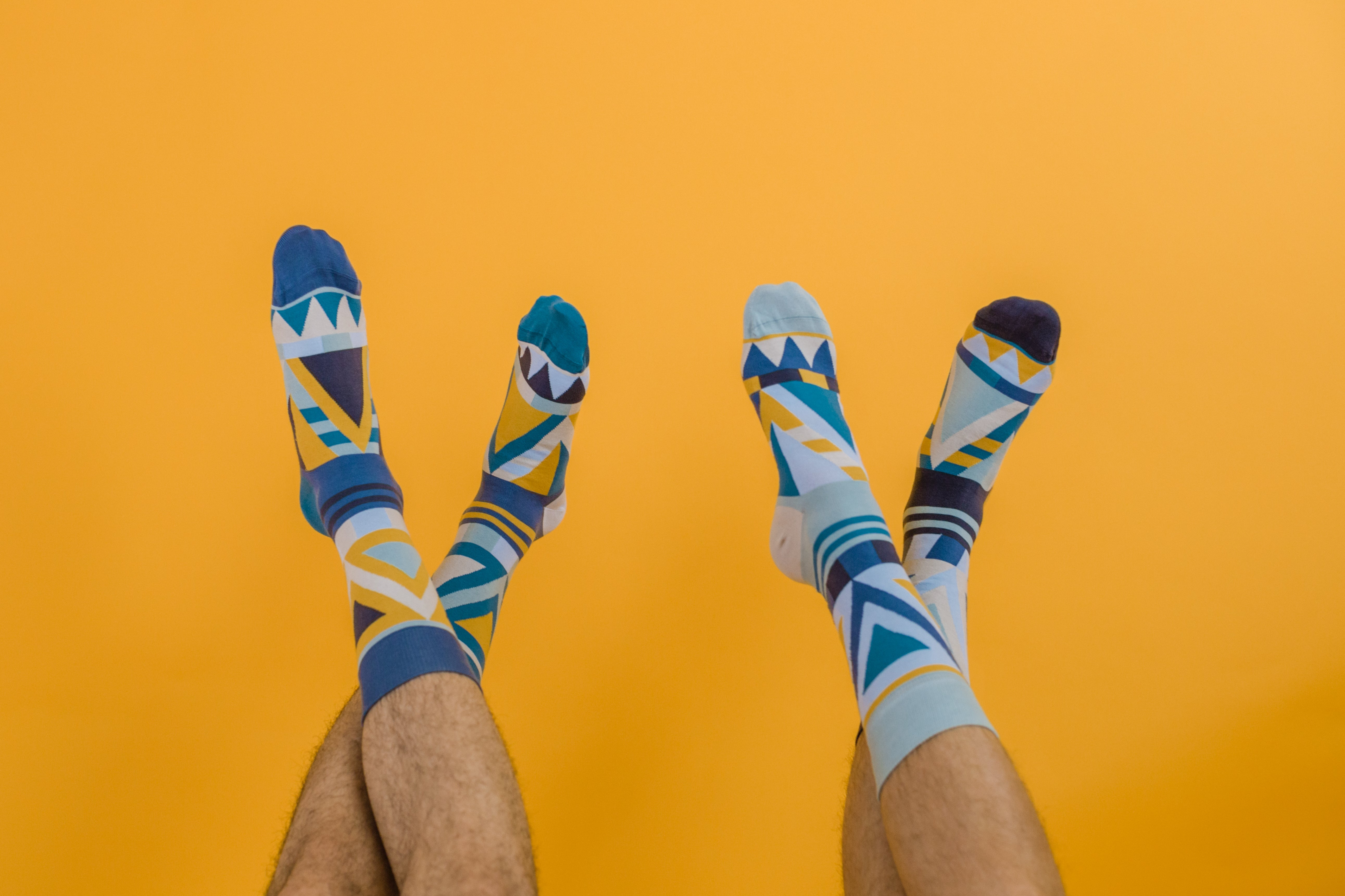 Van Dyke Duo - Three different but matching happy, colorful organic cotton crew or dress socks made by SOLOSOCKS™ of Denmark. Sustainable Danish design socks for men, women | High quality but cheap and durable fashion dress socks | Worldwide delivery | Free shipping above €40 | Reduce textile waste by 41%