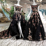 Flower Patterns Elegant Gowns Black Long Gowns Party Dresses