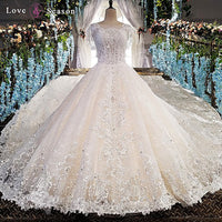 White Cap Sleeve Luxury Long Train Sexy Wedding Dress
