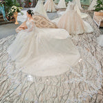 Long Trailing Dreamy Bride Wedding Dress
