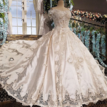 Romantic Seaside Lace Decoration Luxury Long Wedding Dress