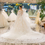 Cape Luxury Heavy Beaded Long Train Wedding Gown Dress