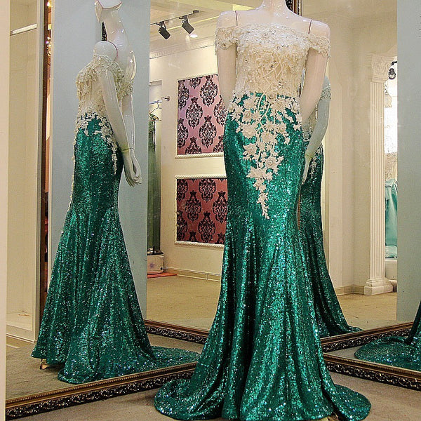 One-shoulder Emerald Green Fishtail Slim Nightclub Evening Dress