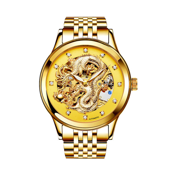 Men's 3D China Dragon Mechanical Skeleton Wrist Watch