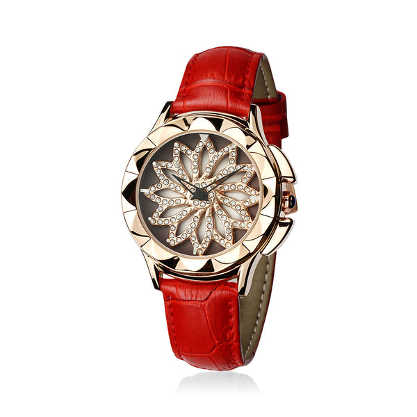 Women Creative Rotate Dial Wristwatches Leather Quartz Watches
