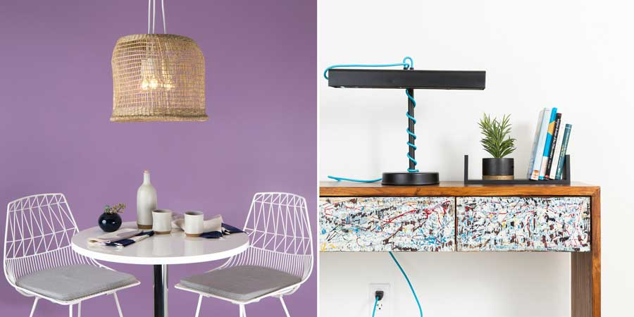 Taking baskets or upcycle old lights into new fun versions of lighting