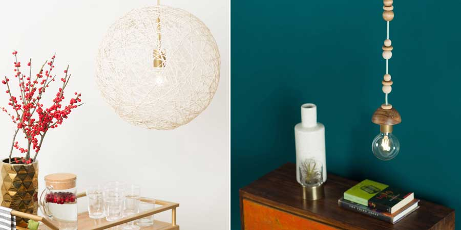 DIY String Shade with string and glue
