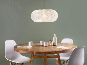 Drum shade statement lighting for dining room by Color Cord Company