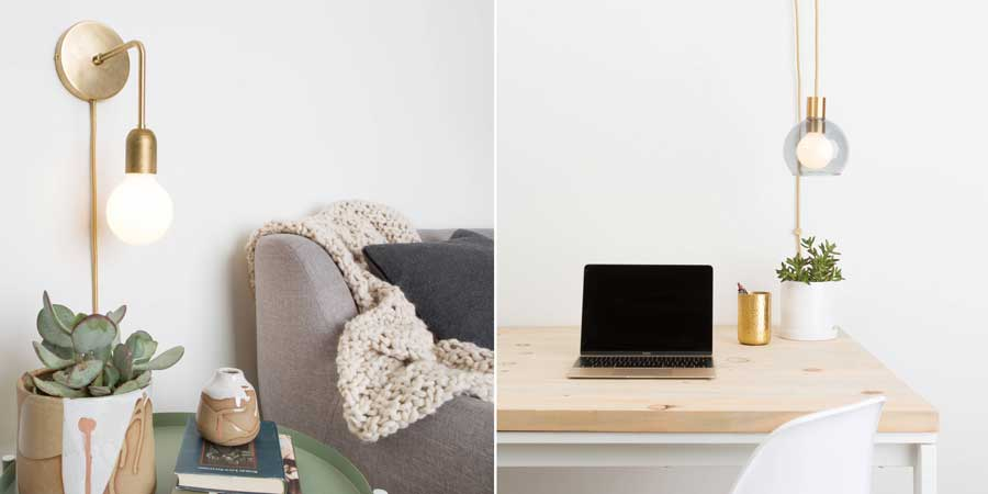 Task light at desk and plug-in Sconce at reading chair