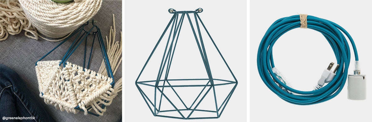 Woven Pendant Light With Geometric Cage