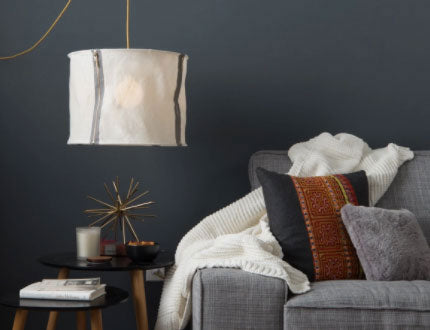 Zip Shade statement light fixture for living room by Color Cord Company
