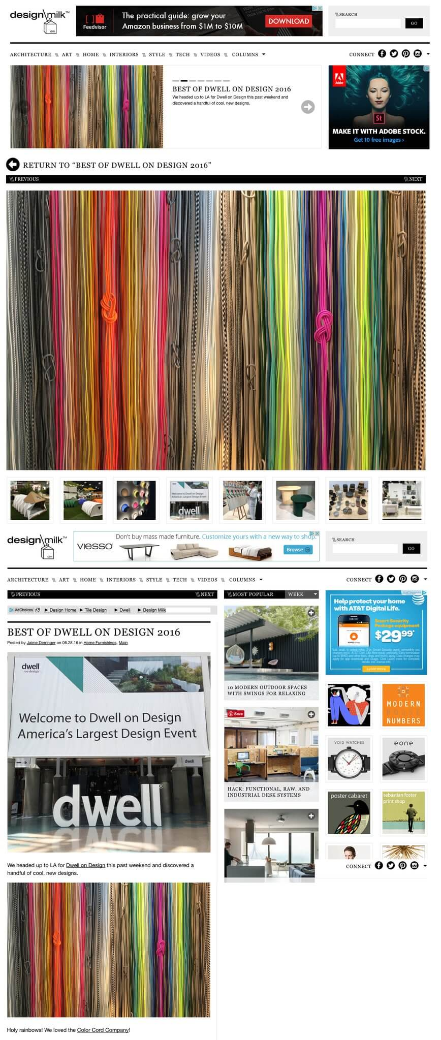 Design Milk screenshot with colored electric cords