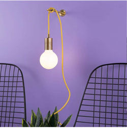 Color Cord Pendant Light with Purple Wall