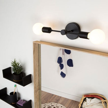 Custom horizontal dual-bulb sconce light for bathroom vanity with black-finished hardware