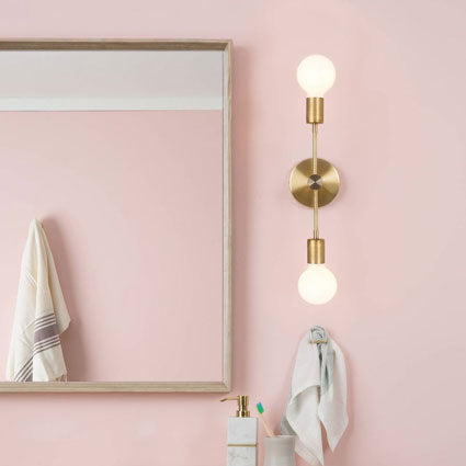 Custom dual vertical wall sconce for bathroom vanity dispersed lighting by Color Cord company