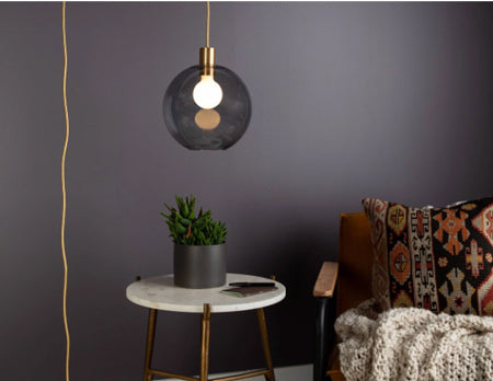 Dimmable all-in-one custom globe light fixture by Color Cord Company