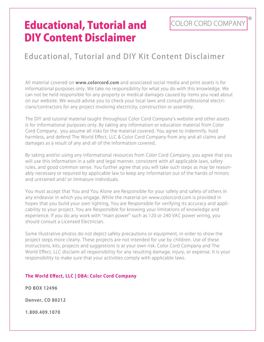DIY Content Disclaimer by Color Cord