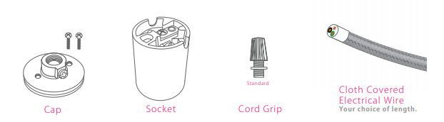 Parts of a Porcelain Socket illustration Cap, Shell, Standard or Barrel Cord Grip   And Cloth Covered Electrical Wire