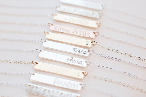 Tesoro Jewelry - Custom Necklace - Stamped Necklaces in various metals
