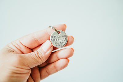 Muggles Keychain | Harry Potter Keychain, close up